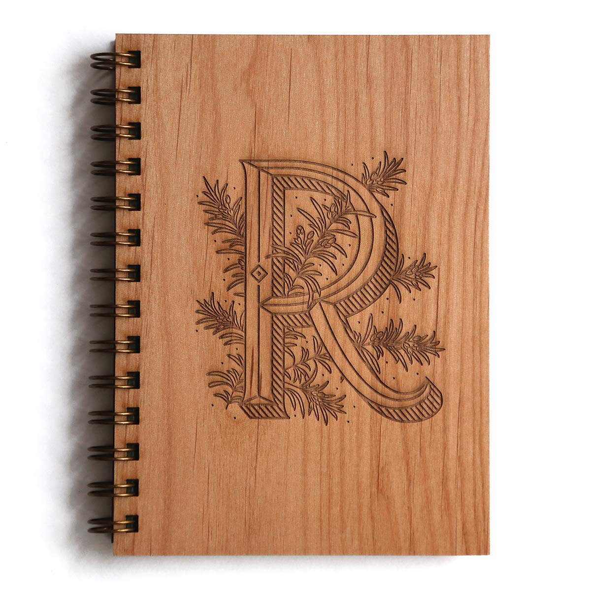 Floral Monogram R Initial Laser Cut Wood Journal - Other Letters Available (Notebook/Birthday Gift/Gratitude Journal/Mother's Day Gift/Handmade)