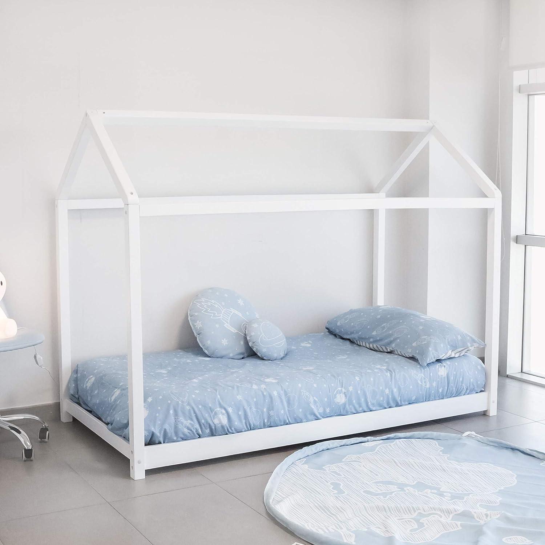 Cama Montessori, Blanco, 140X70 cm