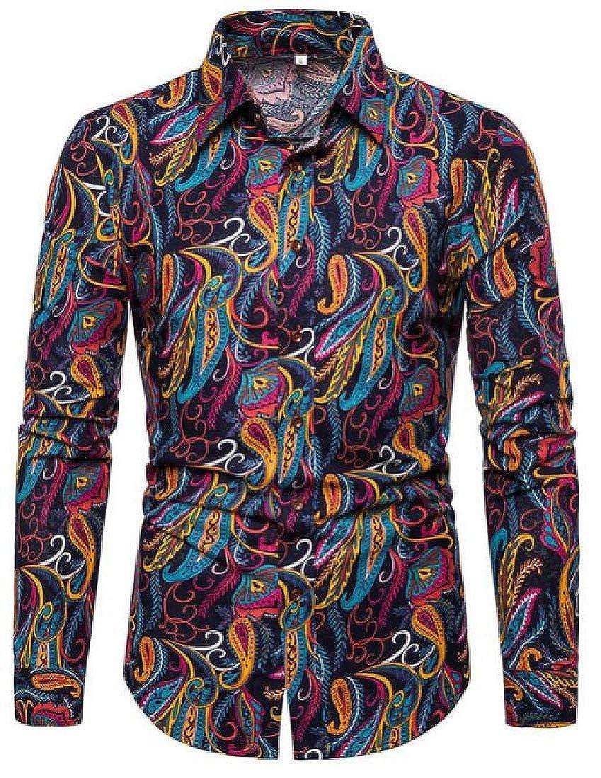 Mstyle Mens Long Sleeve Button Up Paisley Print Casual Shirt Shirts