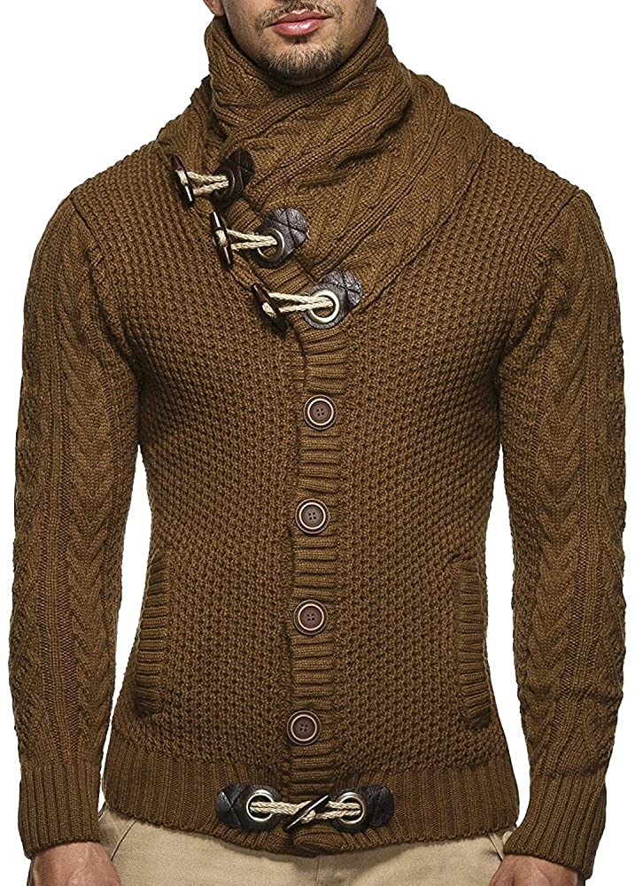 d1c6ea0263 Men s Casual Long Sleeve Knitted Pullover Sweaters with Buttons V neck  men s stand collar cable knitted sweater. Appropriate for casual attire