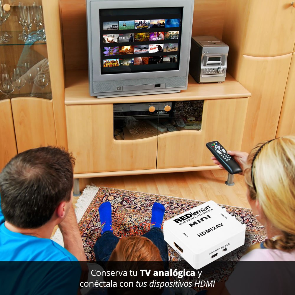 REDLEMON Adaptador y Convertidor HDMI a RCA 1080P, Digital a Análogo ...