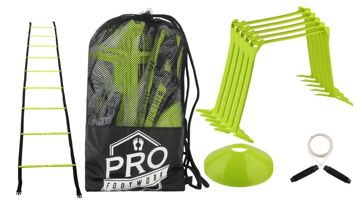 Pro Footwork Agility Ladder and Hurdle Training Set by Bundle Includes 5 Adjustable Speed Hurdles (6'', 9'', 12'') | Quality Agility-Ladder with 9 Total Rungs | Jump Rope and 4 Cones (Neon Green)