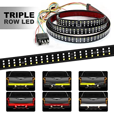 HYB LED Tailgate Light Bar Triple 60 Inches Truck Tailgate Strip Light with 4-Way Flat Connector Wire - Red Brake Running Amber Turn Signal Strobe White Reverse Lights for Pickup Trucks Trailer: Automotive