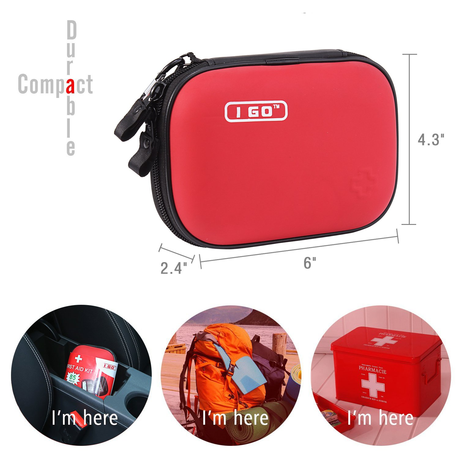 I Go Compact First Aid Kit - Hard Shell Case for Hiking, Camping, Travel, Car - 85 Pieces