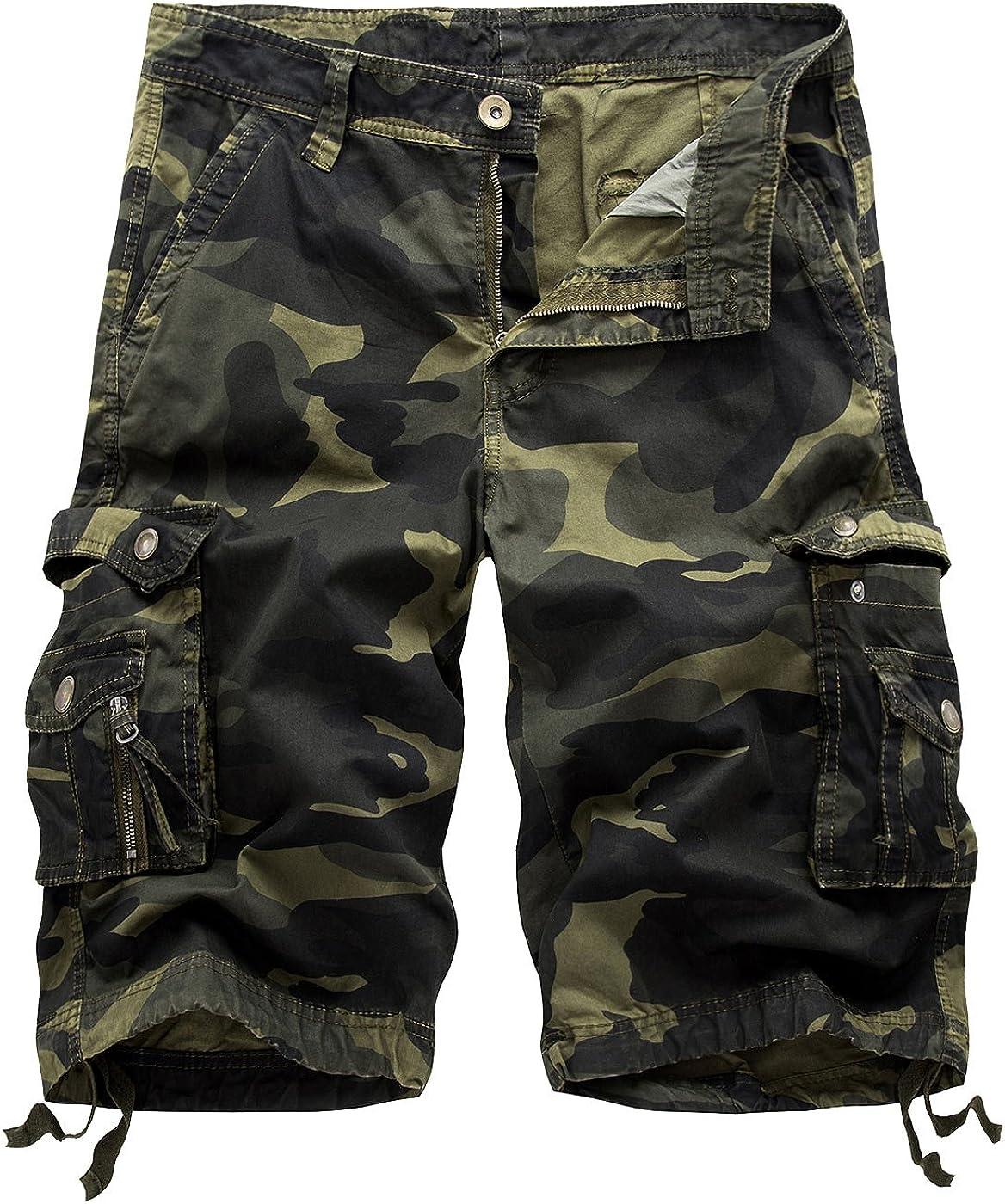 Sllowwa Herren Camouflage Kurze Hose Sommer Cargo Shorts Sport Outdoor Arbeitshosen Freizeithose Sommer Overalls Plus Size Sport Shorts Hosen