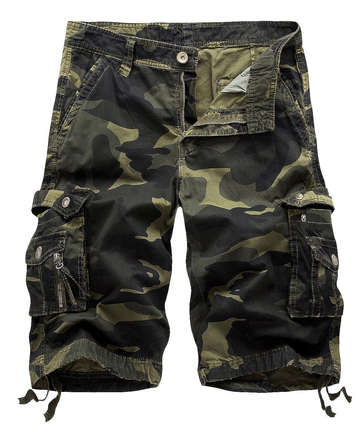 TALLA ES50. AIEOE Pantalones Cortos para Hombres Cargo Shorts Casual Bermudas Camuflaje Suelto Laboral Multi-Bolsillo Leisure