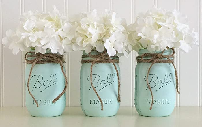 Amazon Mason Jar Set 3 Piece Aqua Baby Shower Centerpiece