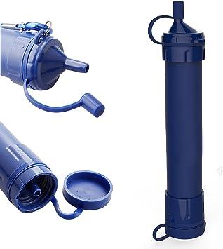 Personal filtro de agua purificador de agua paja, portátil reutilizable paja para hacer senderismo, Camping, viajar, preparación para casos de emergencia Kit de supervivencia (azul oscuro), azul oscuro: Amazon.es: Deportes y aire