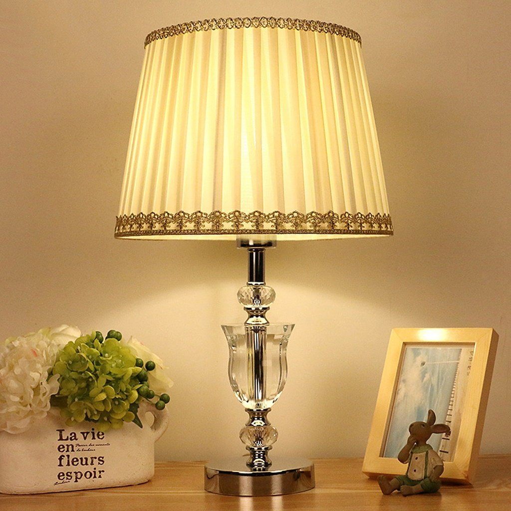 ALUK-Nice table lamp Nordic Tischlampe Schlafzimmer Crystal Lamp Hotel Nachttischlampe Kristall Tischlampe   E27 (beige)