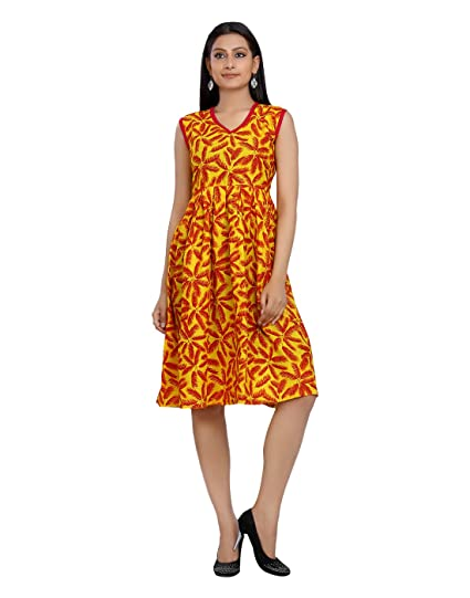 4b48b98ed kartspin woman's design dress for girls designer new collection Beach  Yellow and Orange Printed Cotton Dress For Women's: Amazon.in: Clothing &  Accessories