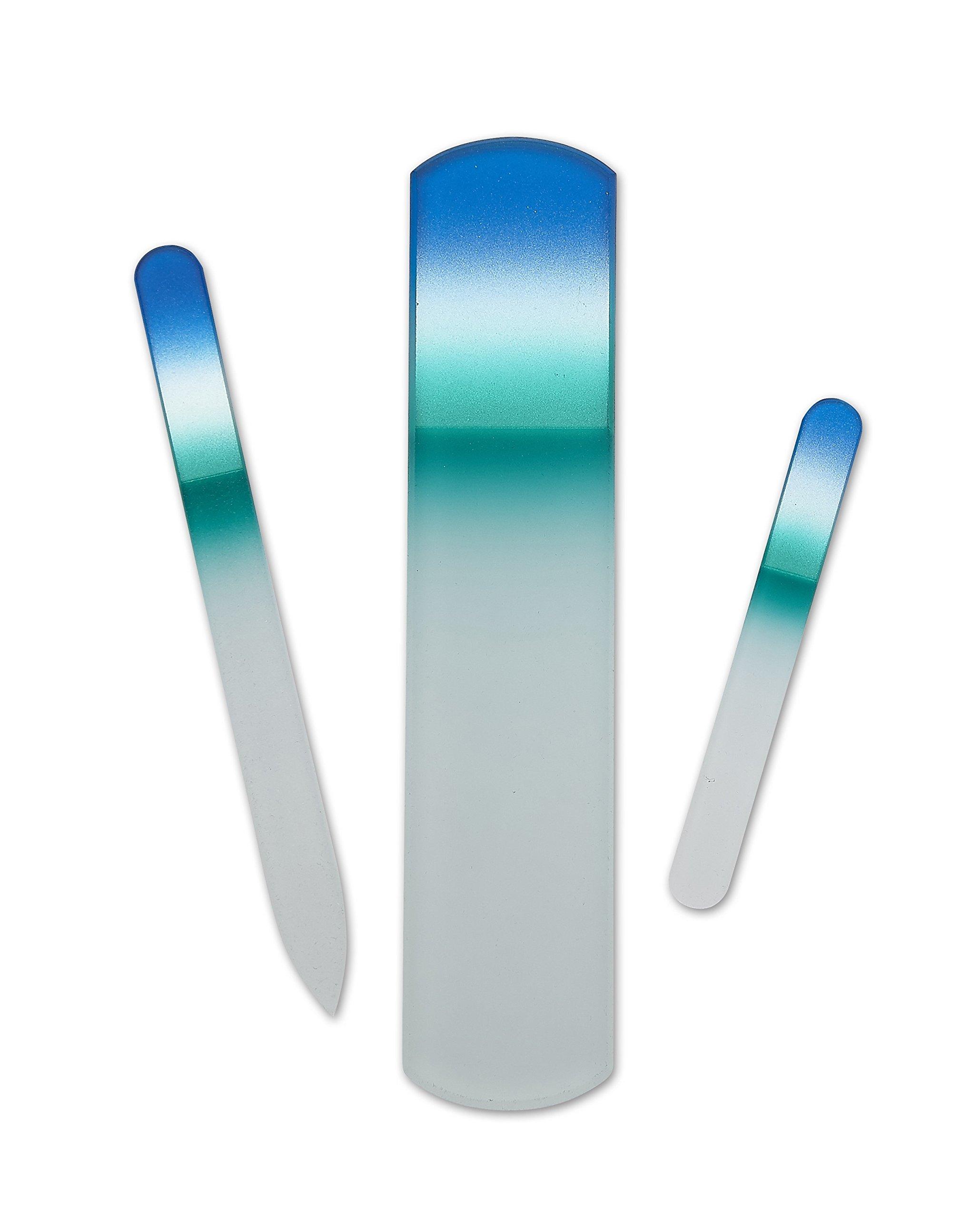 World's Best Tweezers 3-Piece Manicure Pedicure Crystal Nail File Set | Natural & Acrylic Fingernails | Handmade in Czech Republic | Never Wears Out | Metallic Blue