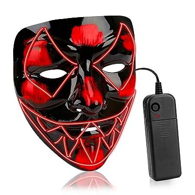 AnseeDirect Mascara Terror Led Halloween Cosplay Led Disfraz Máscara Terror El Wire Light Up Power Purge Mask para Fiestas Festival Fiesta De Disfraces Navidad: Productos para mascotas