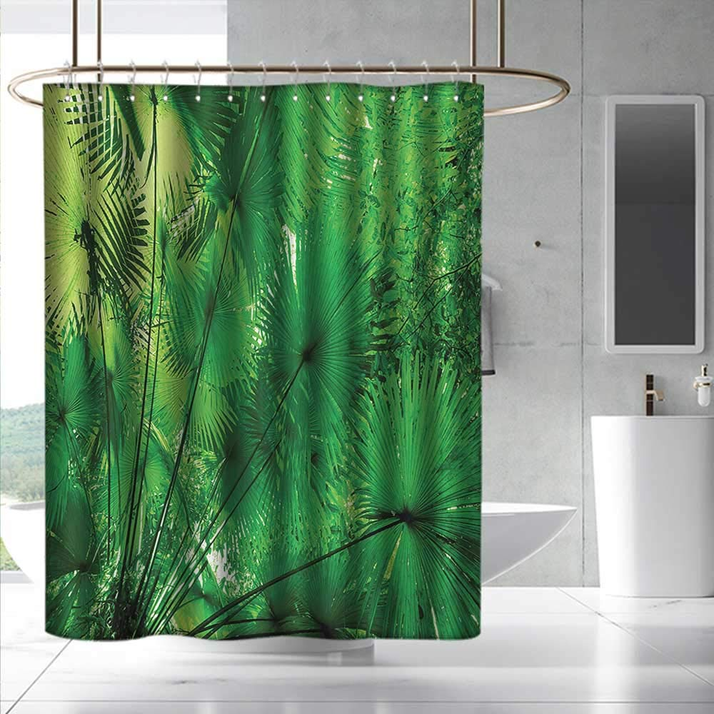 Fakgod Rainforest Shower Curtain with Hooks Plants in Tropical Environment Exotic Jungle Atmosphere Asian Natural Beauty Pattern for Master, Kid's, Guest Bathroom W108 x L72 Green