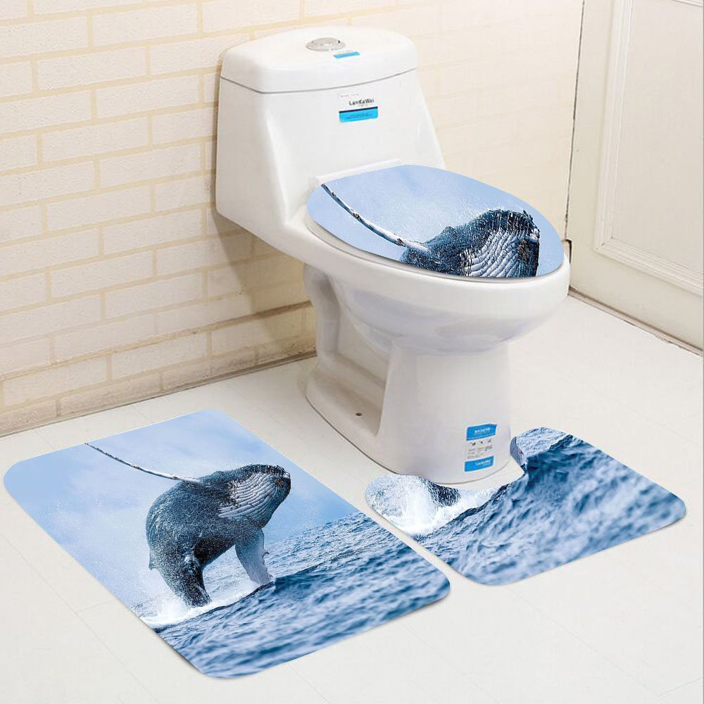 Keshia Dwete three-piece toilet seat pad customSea Animals Collection A Breaching Massive Humpback Whale Dangerous Predatory Surface Picture Print Blue Teal