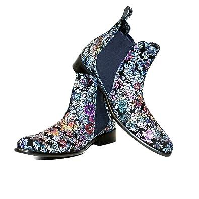 PeppeShoes Modello Sonyoll Handgemachtes Italienisch Leder Herren Mehrfarbig Stiefeletten Chelsea Stiefel Rindsleder Weiches Leder Schlüpfen
