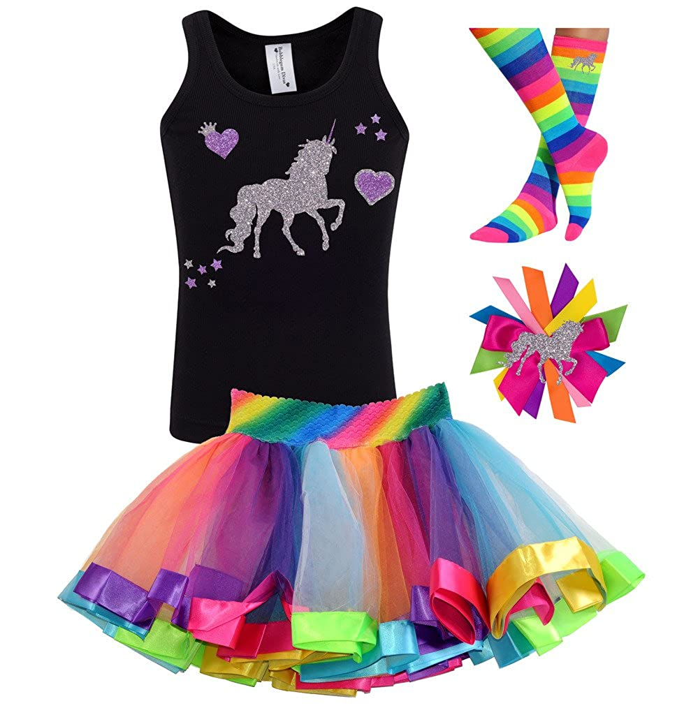 Bubblegum Divas Little Girls Unicorn Shirt Socks Hair Bow Rainbow Tutu 4pc Birthday Gift Set