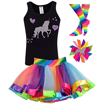 d7d53a97e Bubblegum Divas Little Girls Unicorn Shirt Rainbow Tutu Birthday Outfit  Socks Hair Bow 6X