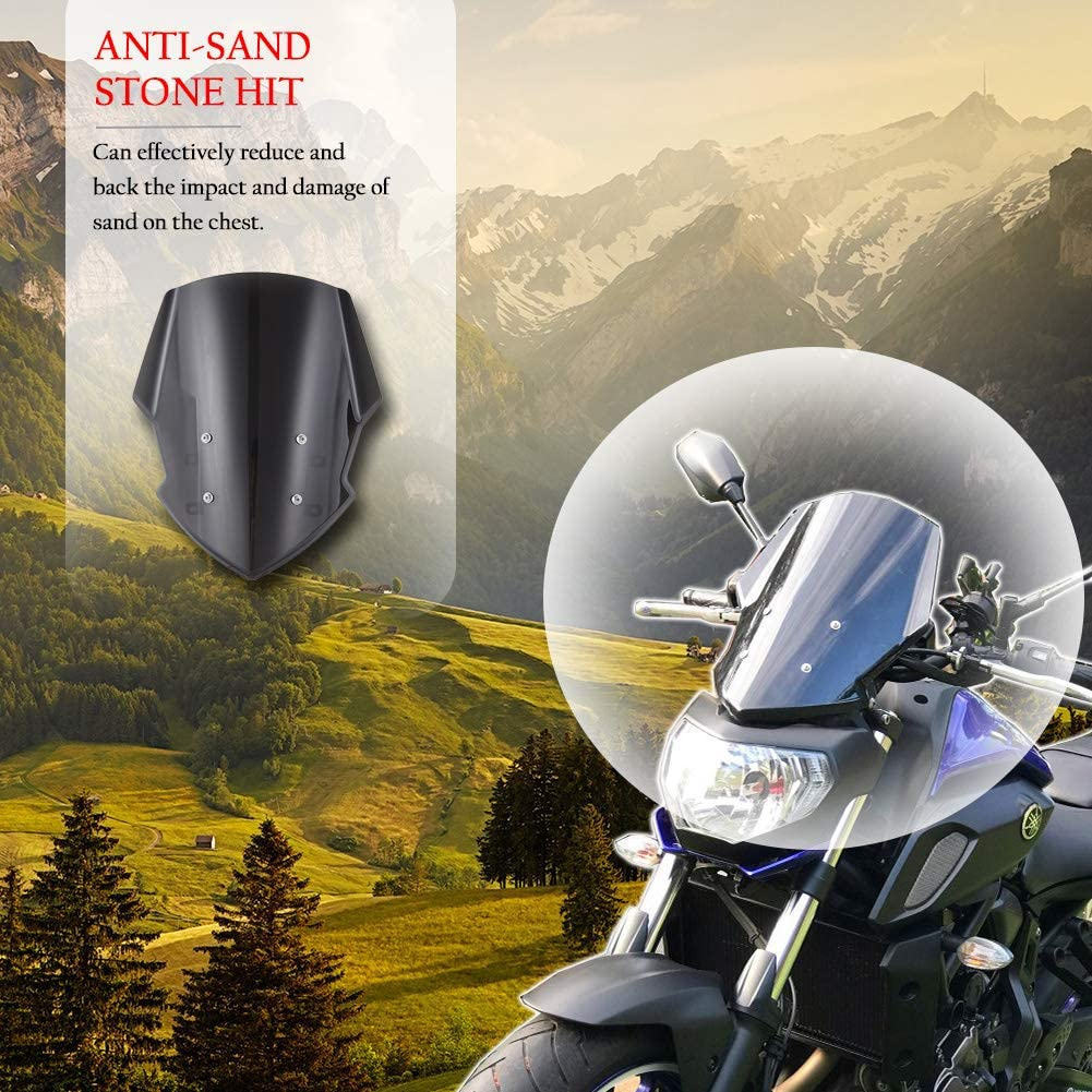 Smoke XX eCommerce Motorcycle Motorbike Sport MT07 Windshield Windscreen Shield Screen with Mounting Bracket Protector Deflecr for 2018-2019 Yamaha MT FZ 07 MT-07 18 19