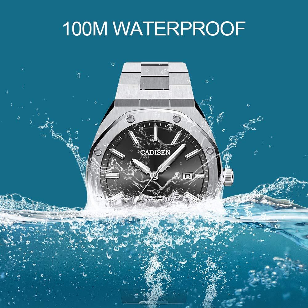 Cadisen herr Octagon automatiska klockor för män 100 m vattentät helt rostfritt stål ett stycke armband sportklocka Svart