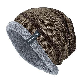 Moonuy Toute Saison Chauffant Bonnet Tricot avec Écharpe de Doublure Polaire,  Hiver Chapeau Beanie pour Homme Bonnet Slouch Beanie Respirant et Doux ... c5cb95b8dbd
