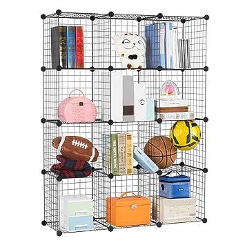 LANGRIA 12-Cube DIY Wire Grid Bookcase, Multi-Use Modular Storage ...