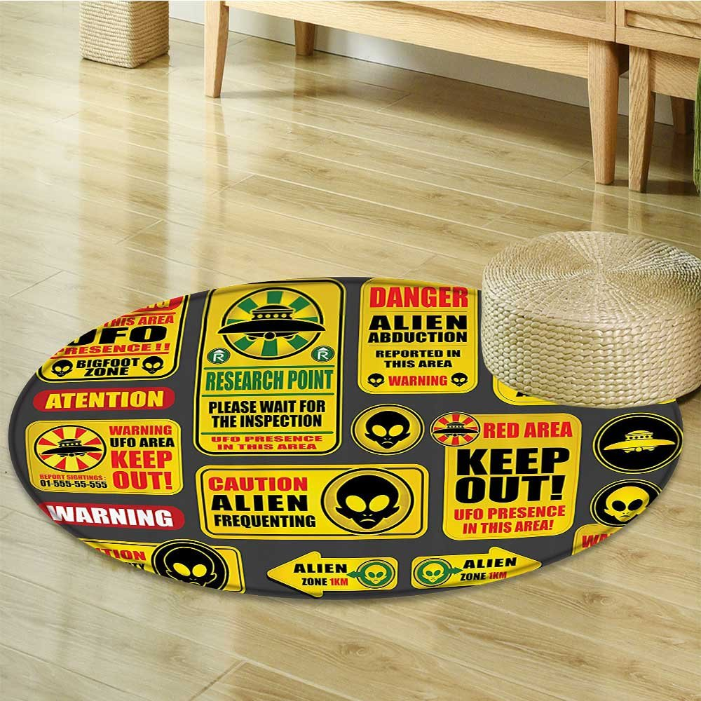 Outer Space Decor Circle carpet by Nalahomeqq Warning Ufo Signs with Alien Faces Heads Galactic Paranormal Activity Design Fabric Room Decor non-slip Yellow-Diameter 120cm(47'')