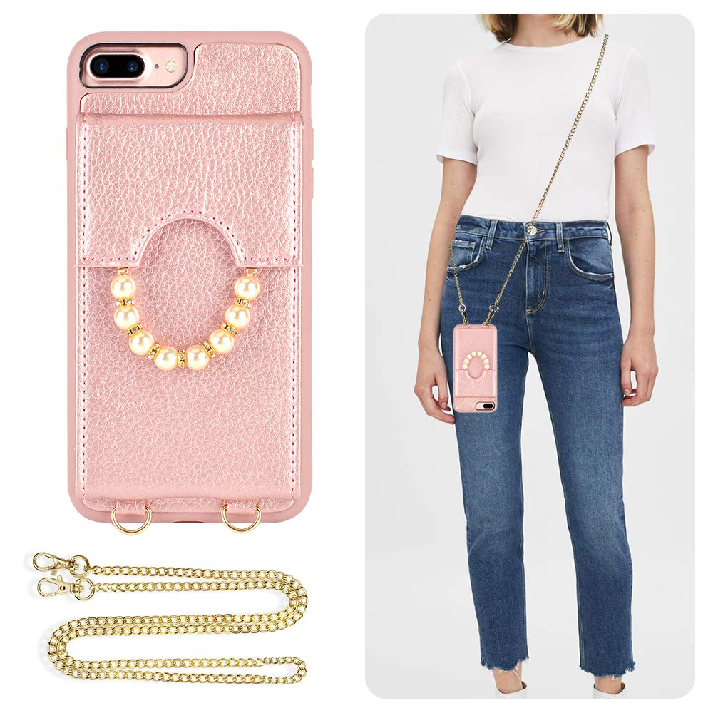 ZVE iPhone 8 Plus Case Wallet Case for iPhone 7 Plus, Leather Case with Card Slots Crossbody Strap Shoulder Bag Pocket Shockproof Protective Cover for iPhone 7 Plus / 8 Plus, 5.5 inch - Rose Gold by ZVE
