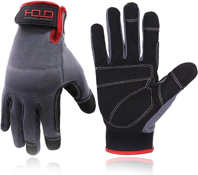 Flexible Breathable Yard Work Gloves HANDLANDY Work Gloves Mens /& Women Utility Safety Mechanic Working Gloves Touch Screen