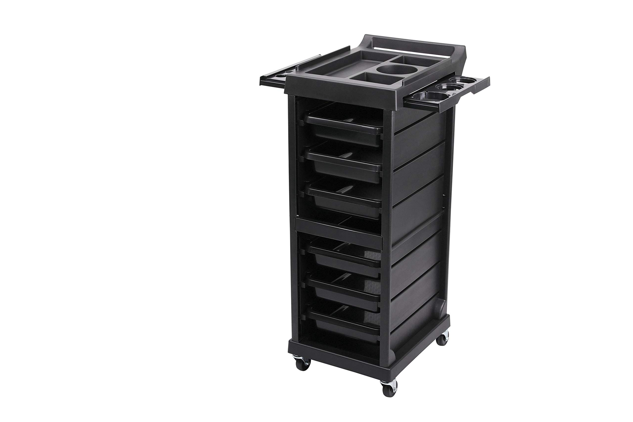 Beauty Style Salon Equipment Trolley with 6 Drawers, Rolling Wheels for Beauty Hairdressing Storage Cart Black