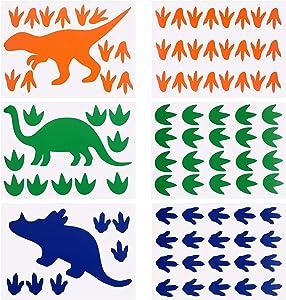 AIEX 6Pcs Dinosaur Wall Decals Dinosaur Footprints Stickers for Boys Girls Bedroom/Nursery/Classroom Decoration (Blue, Orange, Green)