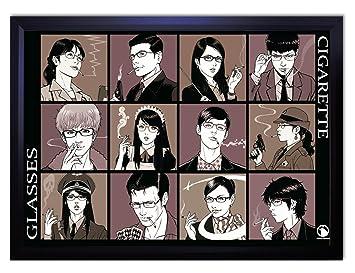 Amazondx ポスター ヨシオカサトシ イラスト フレーム付き 黒 87cm