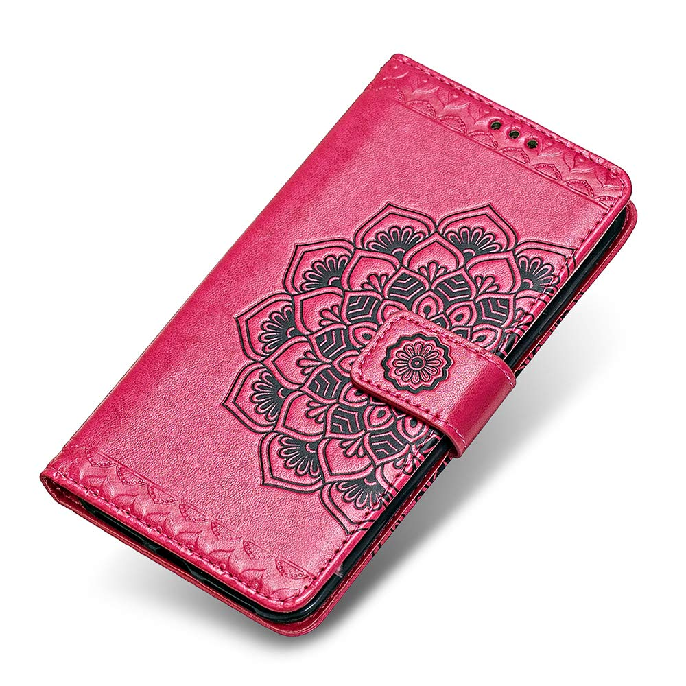 Coque LG K10 2017, The Grafu® Étui Portefeuille Flip Coque de Protection avec Fonction Stand, Magnetic Housse pour LG K10 2017, Rose Rouge