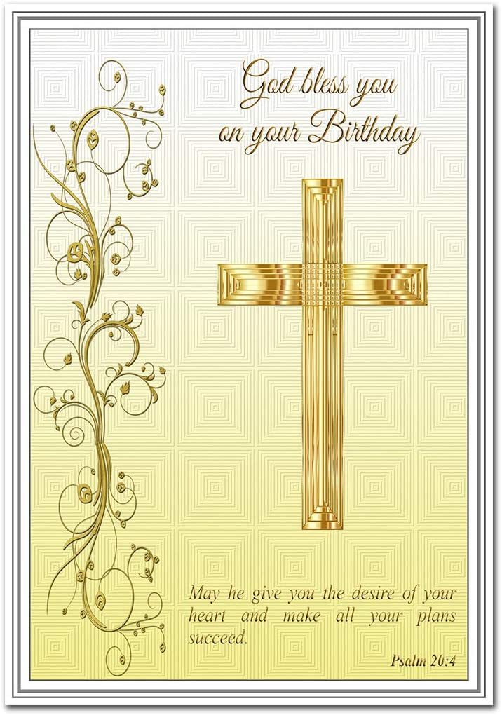 Christian Birthday Card Religious Blessings Faith In God Greetings Special Holy Wishes Him Her Children Sister Wife Brother Friend Blank Inside To Write Own Message Gold