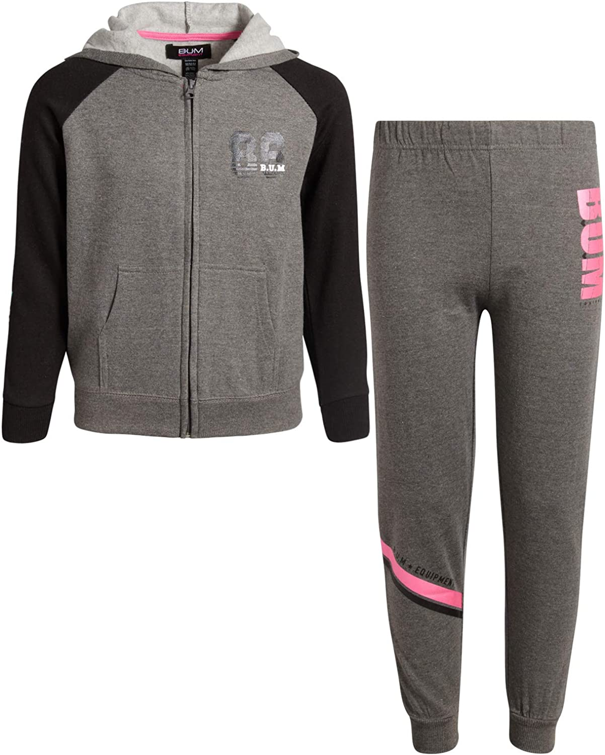 Equipment Girls 2-Piece Athletic Jogger Pant Set with Zip Up Hoodie B.U.M Active  Top & Bottom Sets