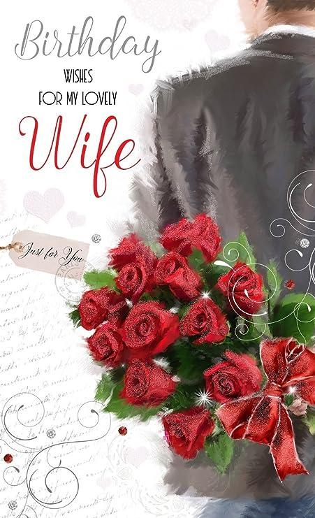 Super Biglietto di auguri di compleanno per moglie, con riflessi, colore HP93