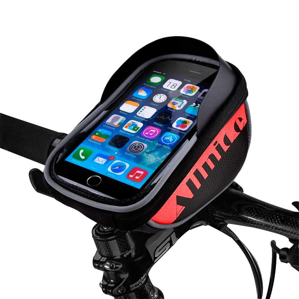 Allnice Bike Bag Red Waterproof Touch Screen Bike Handlebar Bag Mountain Road MTB Bicycle Front Phone Frame Bag Holder iPhone 7 Plus 6s 6 Plus//Samsung Galaxy Note 2 Cellphone Below 5.5Inch