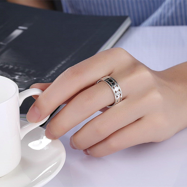 Amazon.com: Adisaer Women Rings Silver Plated Hallow 6MM Wedding ...