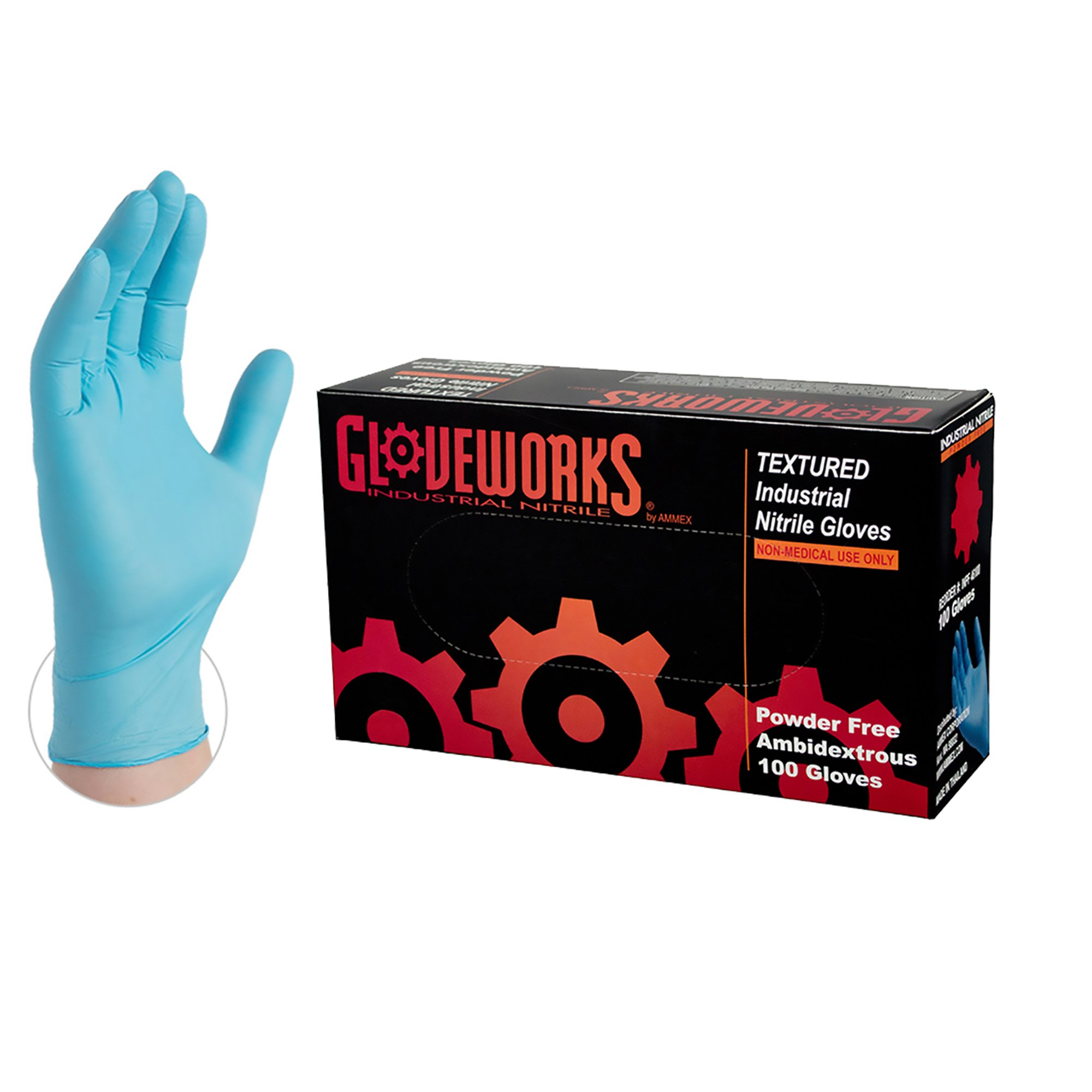 GLOVEWORKS Industrial Blue Nitrile Gloves - 5 mil, Latex Free, Powder Free, Disposable, Xlarge, INPF48100-BX, Box of 100