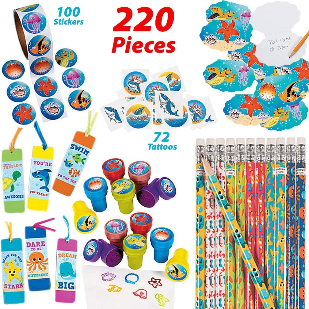 Under the Sea Party Favors for 12 Kids | Shark, Mermaid, Lua, Ocean Theme Party Supplies | Sea Creature Pencils and Notepads, Sea Life Stampers, Shark Tattoos, Ocean Animal Stickers and Fun Bookmarks | Pool Party Prizes for Goody Bags