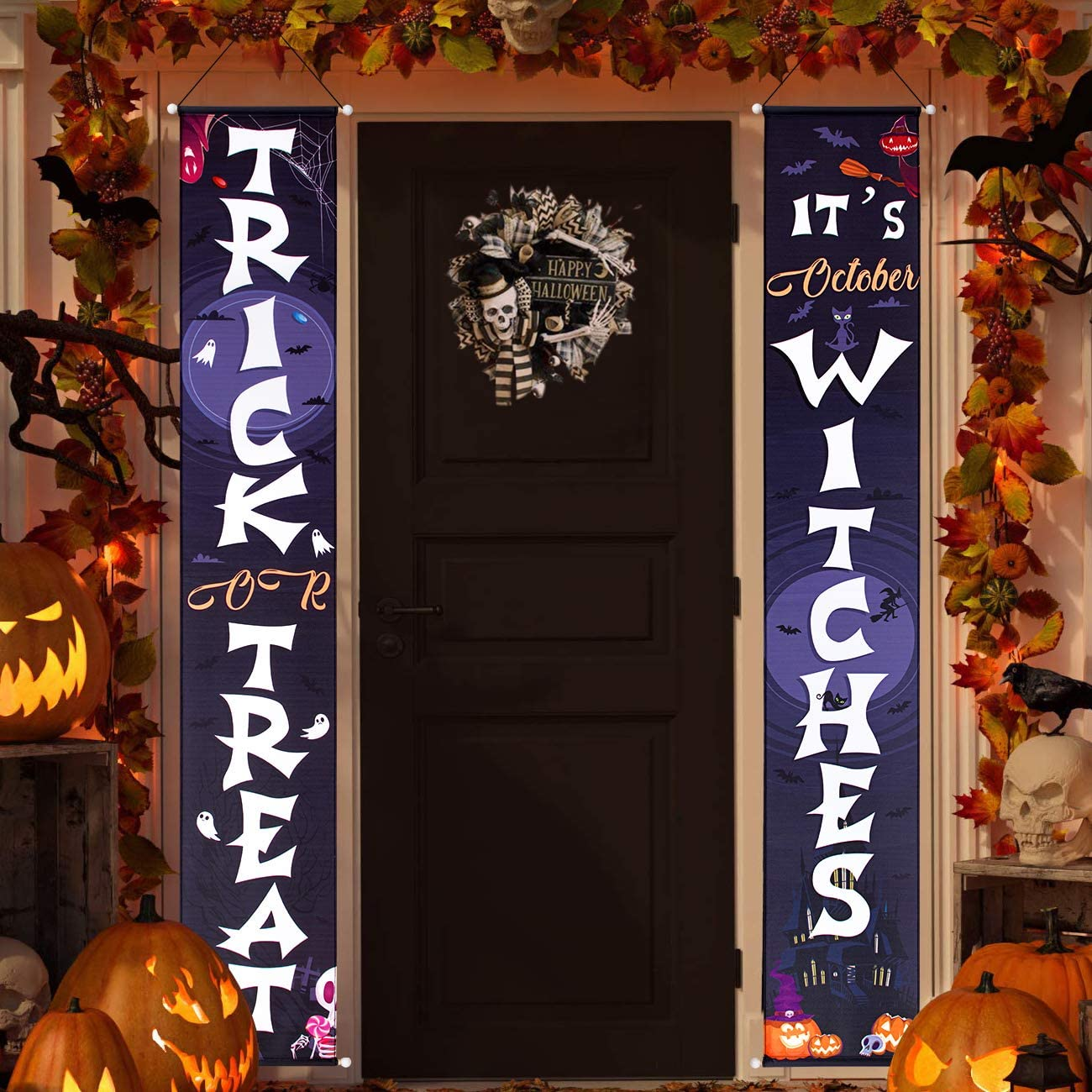 Halloween Door Decorations - Trick or Treat & It's October Witches Halloween Porch Decorations Halloween Hanging Signs for Front Door or Home Decor Indoor Outdoor