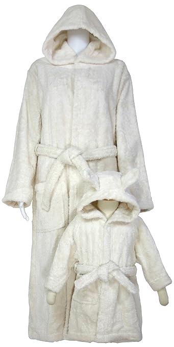 出産祝いに親子ペアのオーガニックコットン バスローブセット ナチュラル ギフトボックス入り(74/80(80cm)-176cm)