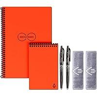 Rocketbook Ever last Executive Notizbuch mit Spiralbindung, mit 2 Pilot-Fruchstiften und 2 Mikrofasertüchern Bundle Everlast Executive and Mini Atomic Red