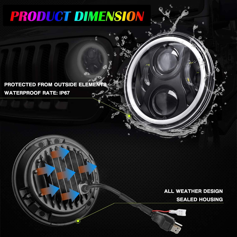 Faros 7 pulgadas Delanteros LED,YEEGO 80W Faros LED Redondos de conducci/ón l/ámparas DRL Hi//Lo para TJLJJK JKU Hummer Toyota Land Cruiser Dodge Dakota