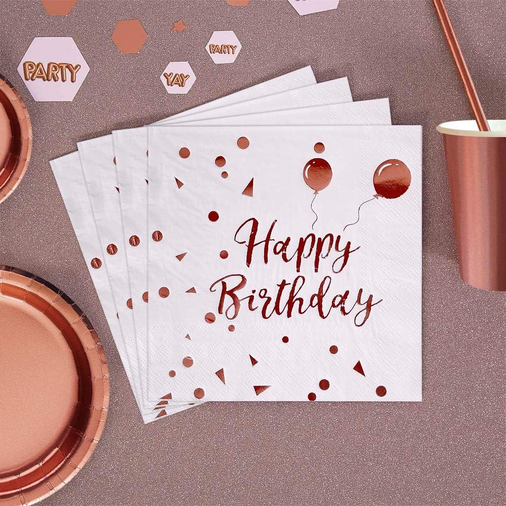 iZoeL 50 Geburtstag Servietten Rosegold Happy Birthday Servietten 33x33cm 3-lagig Wei/ß Papierservietten f/ür Rosa Gold M/ädchen Party Deko
