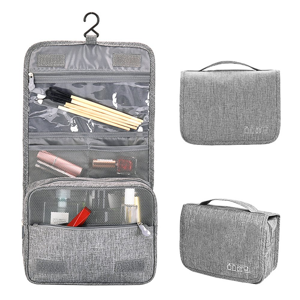Travel Toiletry Bag Toiletries Organizer Cosmetic Organizer with Hanging Hook Compact Bathroom Storage for Women&Men (Gray)