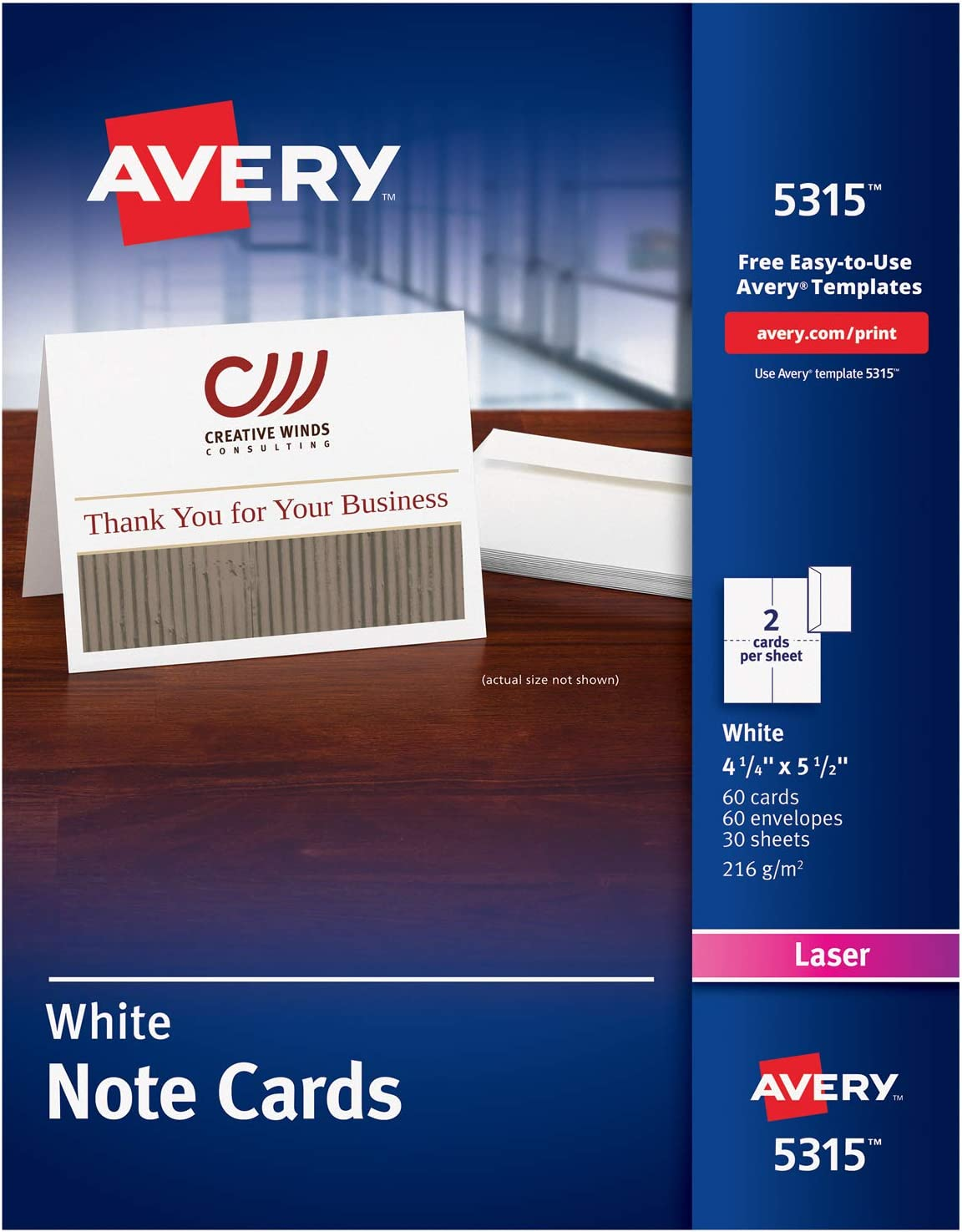 Avery Printable Note Cards, Laser Printers, 9 Cards and Envelopes, 9.9 x  9.9 9319, White