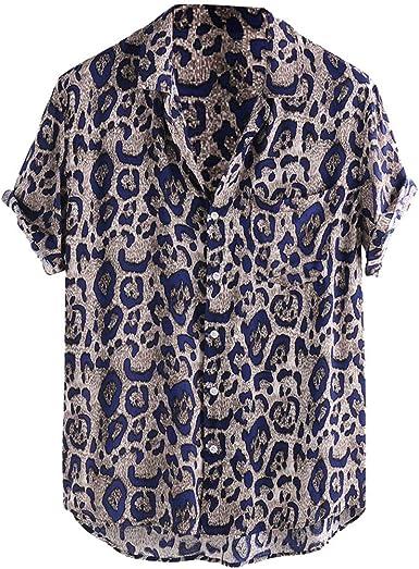 CAOCAO - Camisa con Estampado de Leopardo para Hombre, Negro, Azul, Azul, Bolsillo en el Pecho, Cuello Redondo, Manga Corta, Camisa Holgada Informal: Amazon.es: Ropa y accesorios