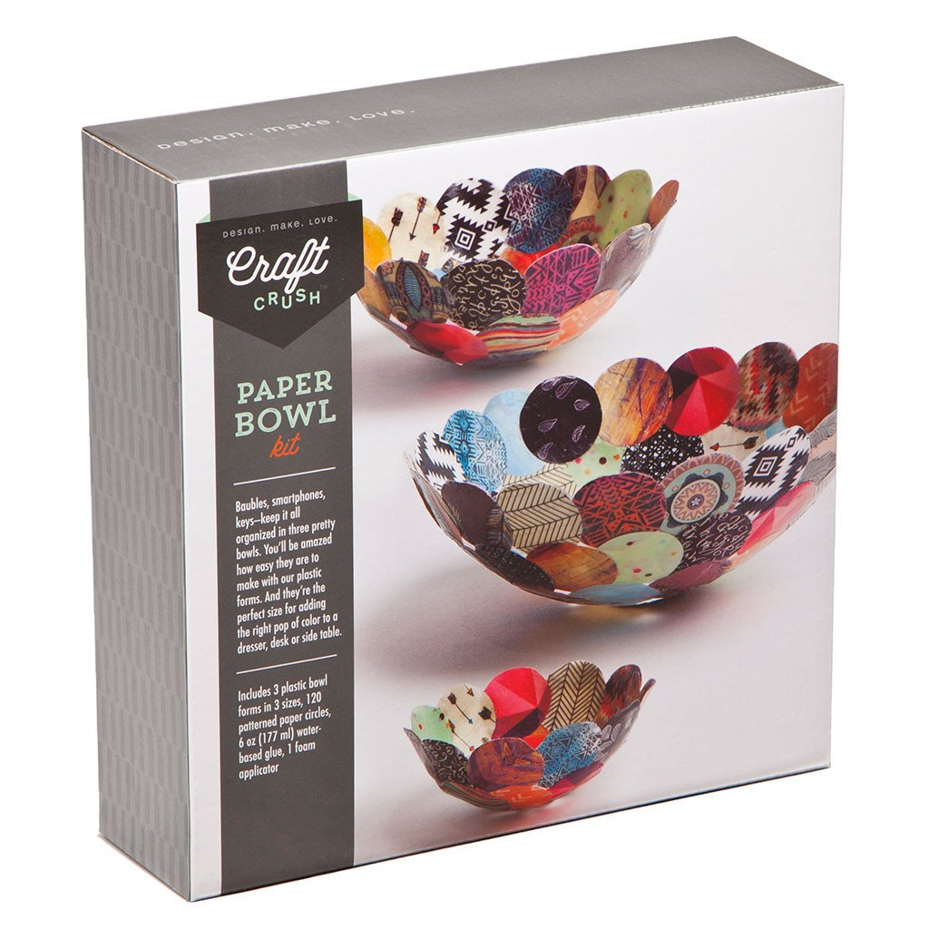 Craft Crush Paper Bowls - Make 3 DIY Different Sized Decorative Bowls - Crafting Kit Teens & Adults