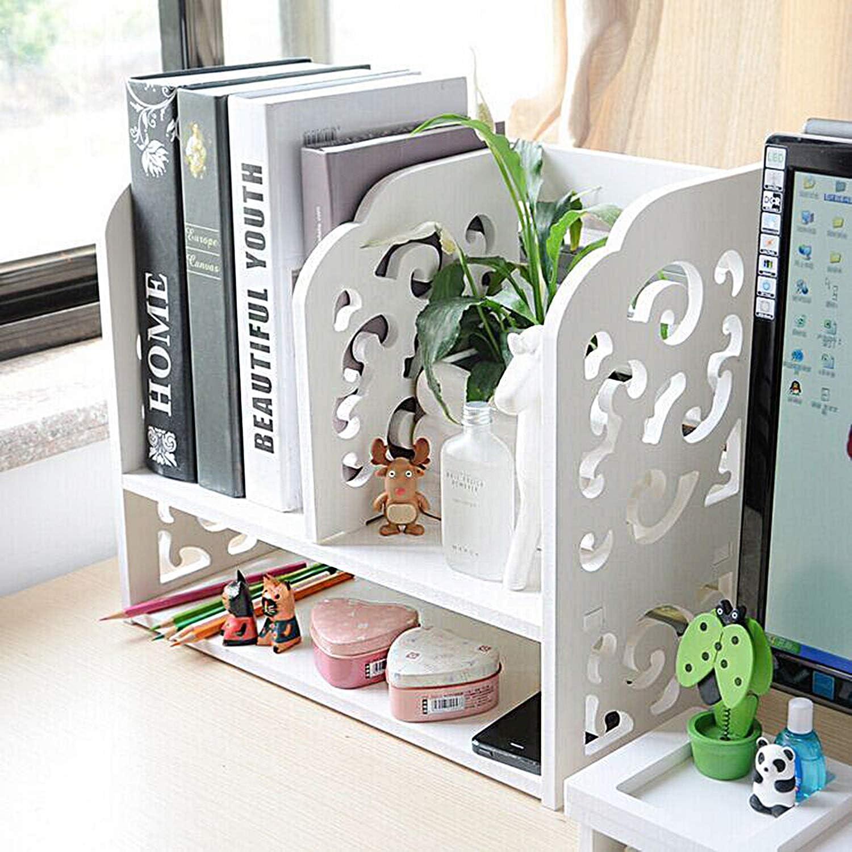 DL furniture - 3 Compartment Wood plastic composite Desk Organizer, Perfect For Book Shelf, Make Up Organizer, Cookie Rack | White
