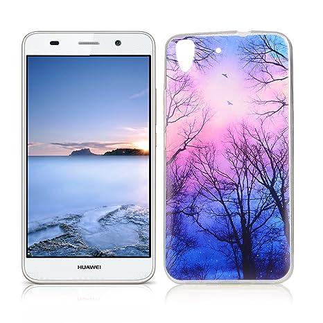 OuDu Funda para Huawei Y6 II/Y6 2 Carcasa Protectora Caso Silicona TPU Funda Suave Soft Silicone Case - Bosque bajo Las Estrellas